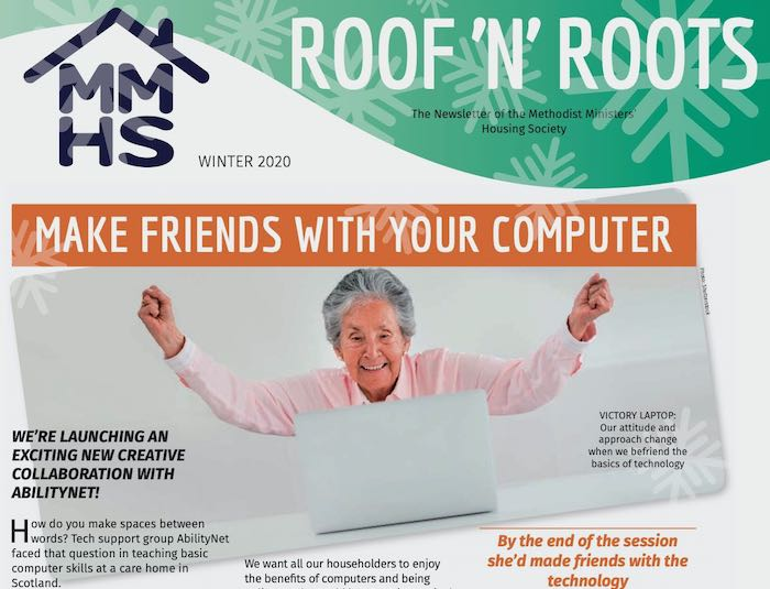 Cover of the Winter 2020 edition of Roof n Roots shows an older woman cheering in victory over her laptop computer